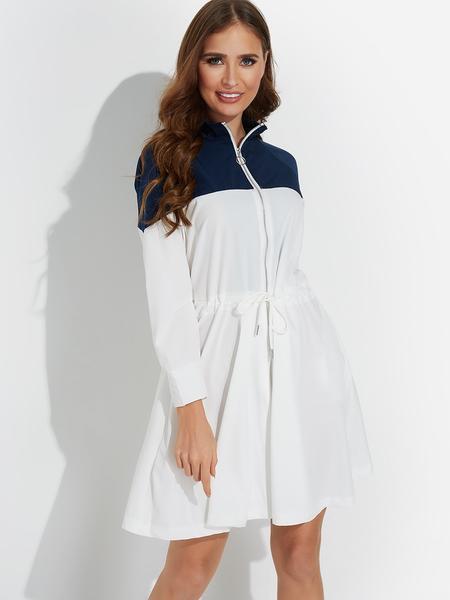 Yoins White Casual Zipper Front Drawstring Waist Split Joint Midi Dress