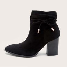 Bow Knot Decor Chunky Heeled Ankle Boots