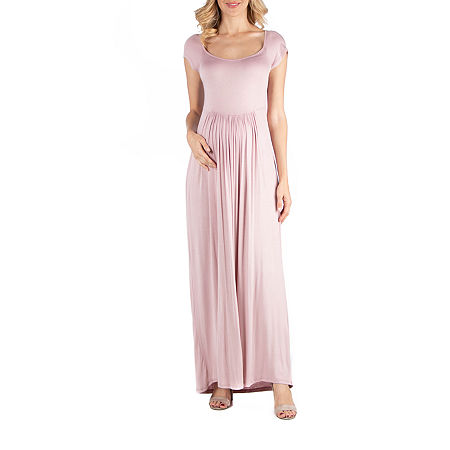 24/7 Comfort Apparel Round Neck and Empire Waist Maxi Dress, Small , Red