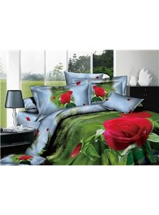 3D Red Rose and Bud Printed Cotton 4-Piece Green Bedding Sets/Duvet Covers