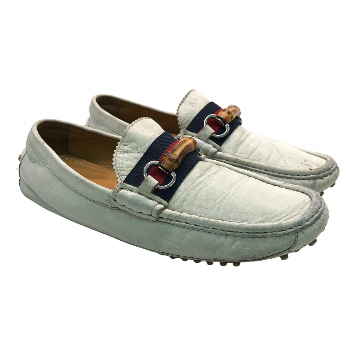 Gucci \N White Leather Flats for Men 43.5 EU