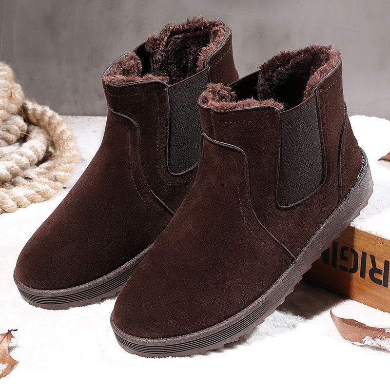 Men Synthetic Suede Warm Plush Lining Slip On Casual Ankle Boots
