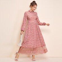 Lantern Sleeve Lace Hem Ditsy Floral Dress