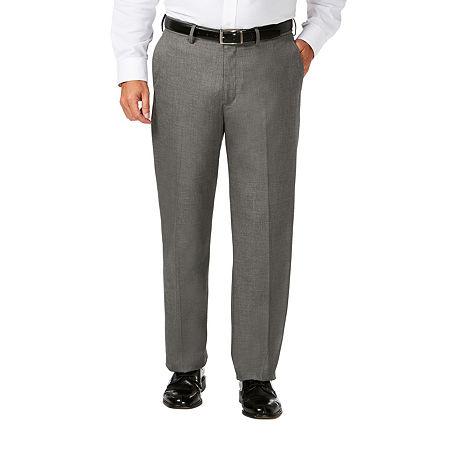 JM Haggar Classic Fit Flat Front Dress Pant-Big and Tall, 60 30, Gray