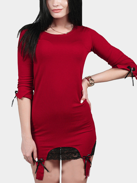 Yoins Red 3/4 Length Sleeves Bodycon Dress with Lace Hem