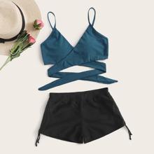 Wrap Drawstring Shorts Bikini Swimsuit