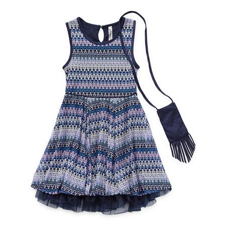 Beautees Casual Big Girls Sleeveless Fit & Flare Dress, 12 , Purple