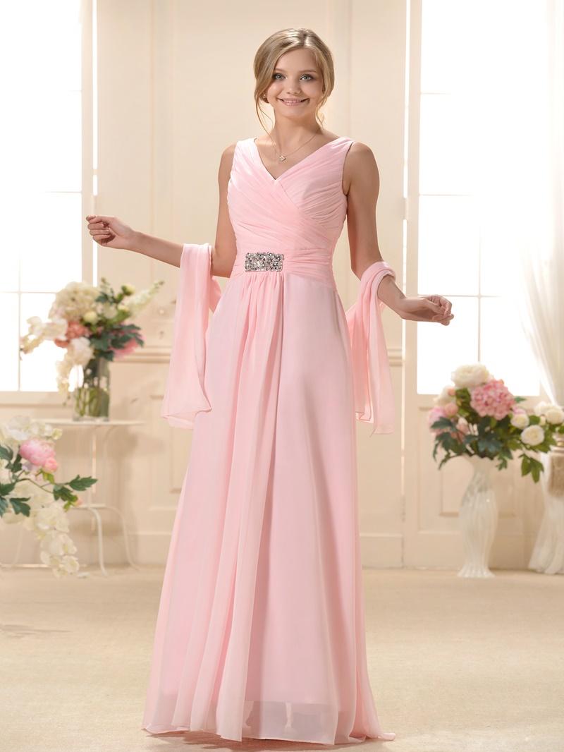 Ericdress Pleats A-Line V-Neck Long Bridesmaid Dress