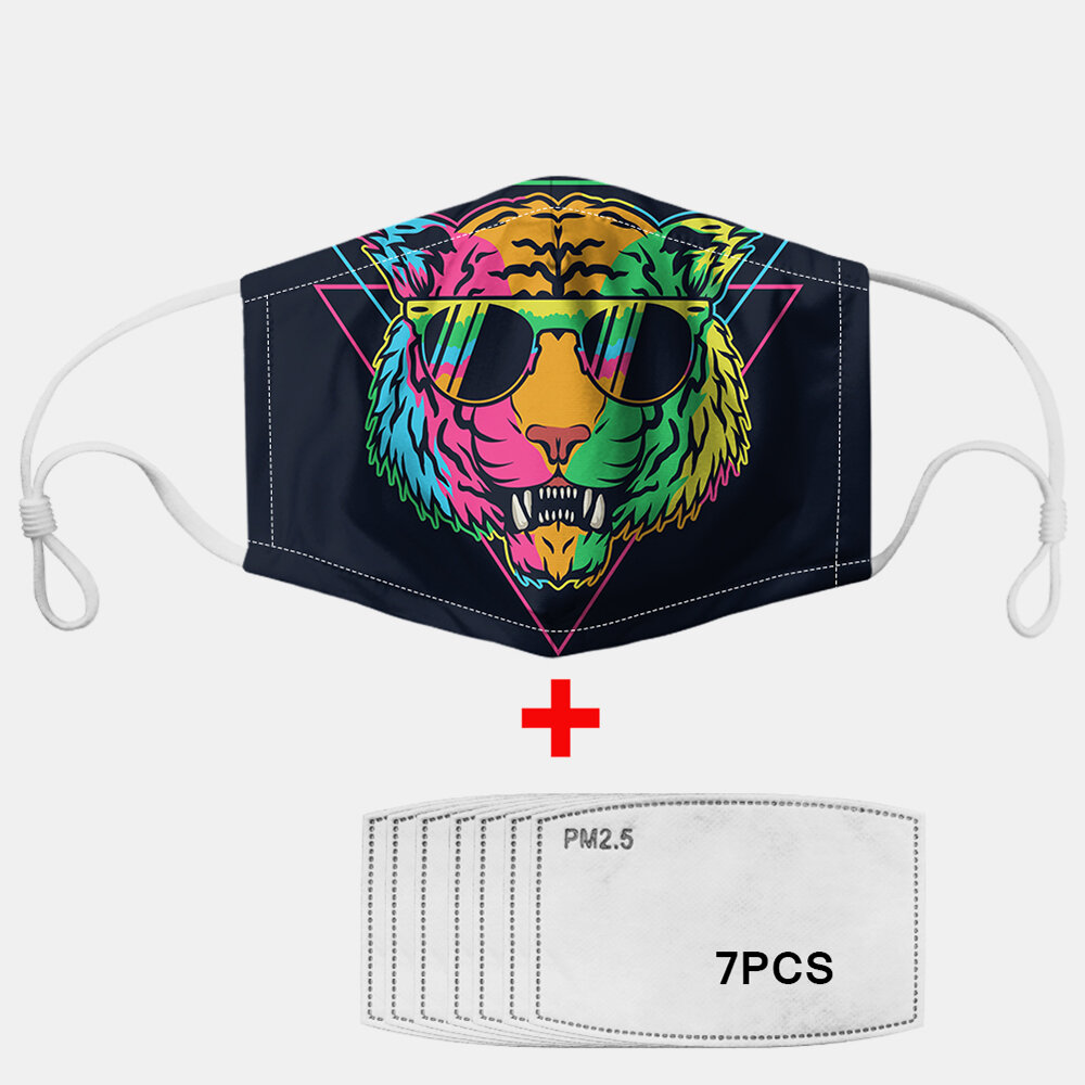 Color Tiger Pattern Polyester Fashion Dustproof Mask With 7 Mask Gaskets