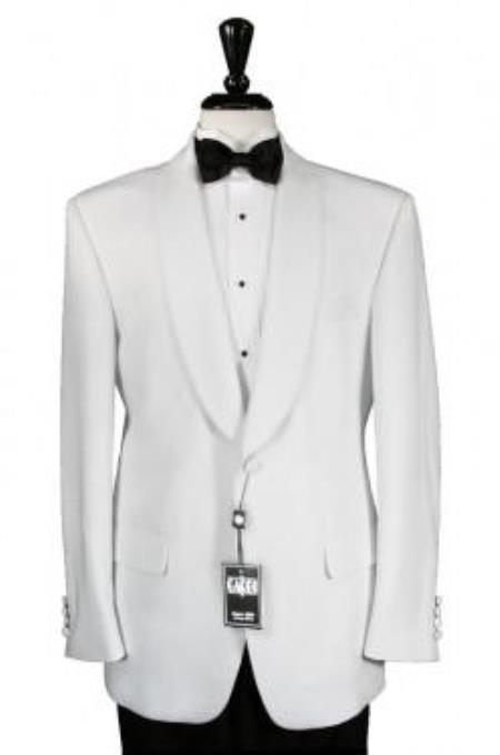 Men's White 1 Button Shawl Dinner Jacket