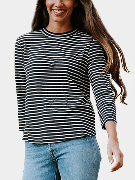 Yoins Black Cut Out Stripe Crew Neck Long Sleeves T-shirts
