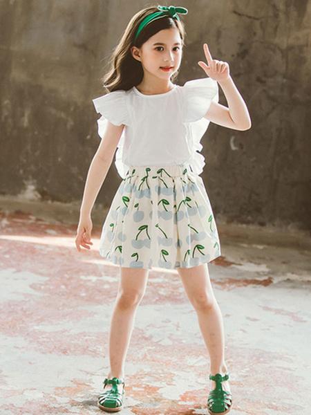 Milanoo Age 4-13 Girls Clothing Set Sleeves Polyester Summer T-Shirt And Short Shirt Set