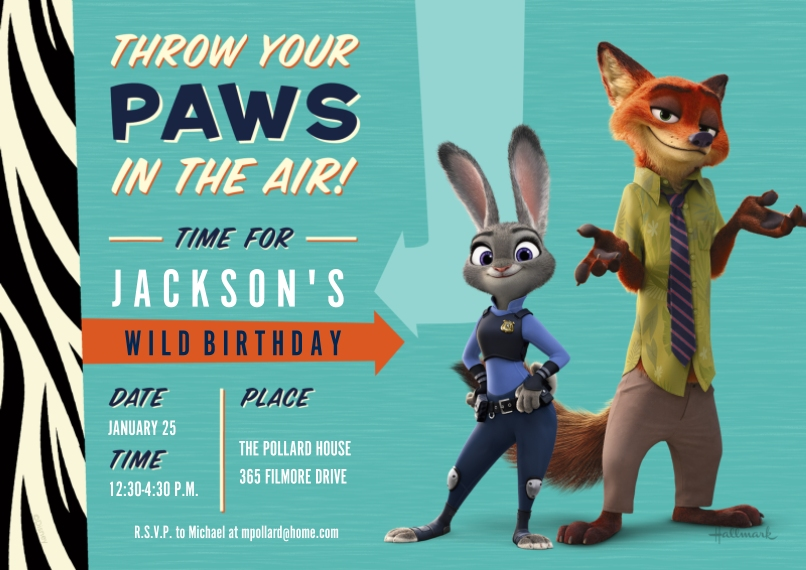Kids Birthday Party Invites Flat Matte Photo Paper Cards with Envelopes, 5x7, Card & Stationery -Paws in the Air - Zootopia
