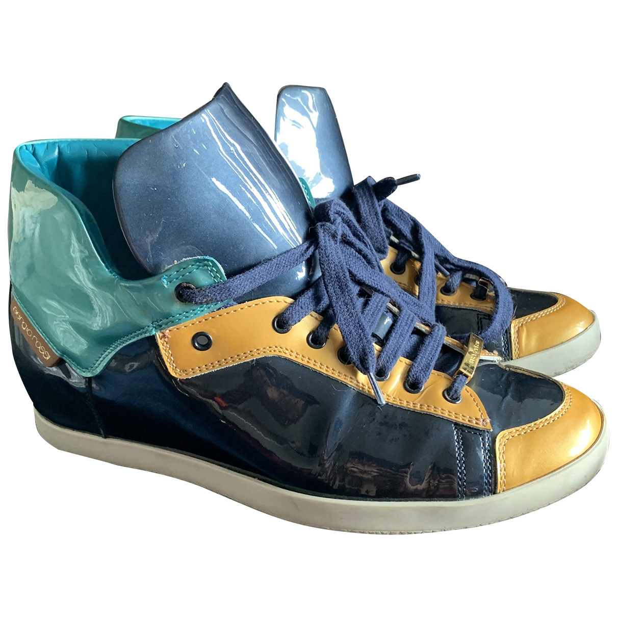 Sergio Rossi \N Blue Patent leather Trainers for Women 37 EU
