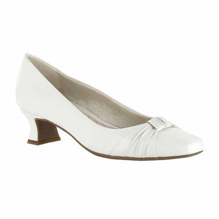 Easy Street Womens Waive Pumps Kitten Heel, 8 Wide, White