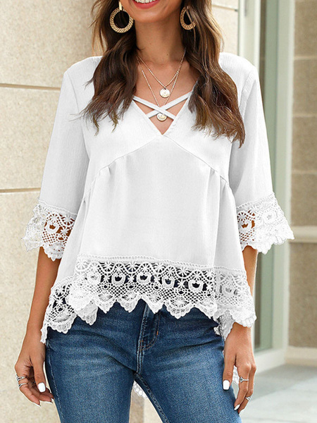 Milanoo Oversized Blouse Lace Trim V Neck Short Sleeves Casual Tops