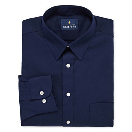 Stafford Mens Wrinkle Free Stain Resistant Stretch Super Shirt Big and Tall Dress Shirt, 19 38-39, Blue