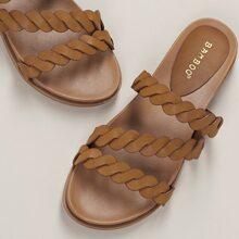 Wavy Woven Straps Flat Slide Sandals