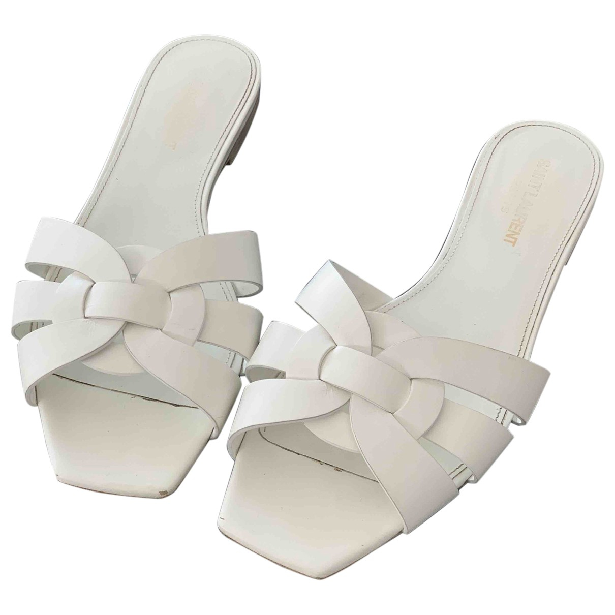 Saint Laurent Tribute White Leather Sandals for Women 38.5 EU