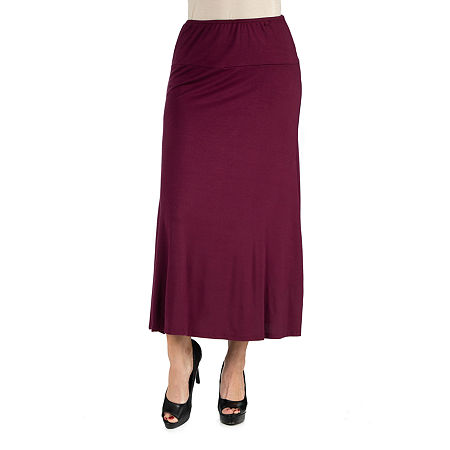 24/7 Comfort Apparel Elastic Waist Solid Maxi Skirt, X-large , Red