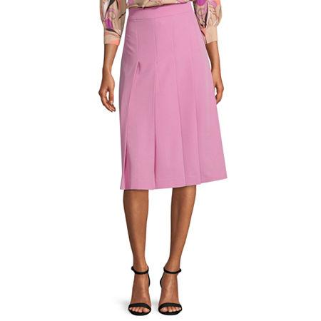 Worthington Womens High Rise Midi Pleated Skirt, 10 Petite , Pink