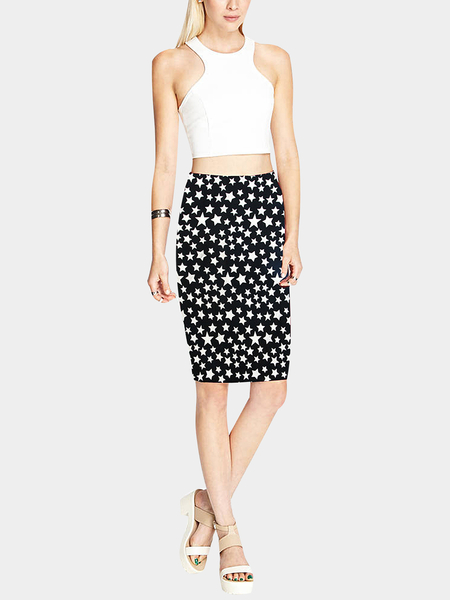 Yoins Pencil Midi Skirt in Star Print