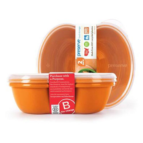 Small Square Food Storage Container - Orange 2 Pack by Preserve