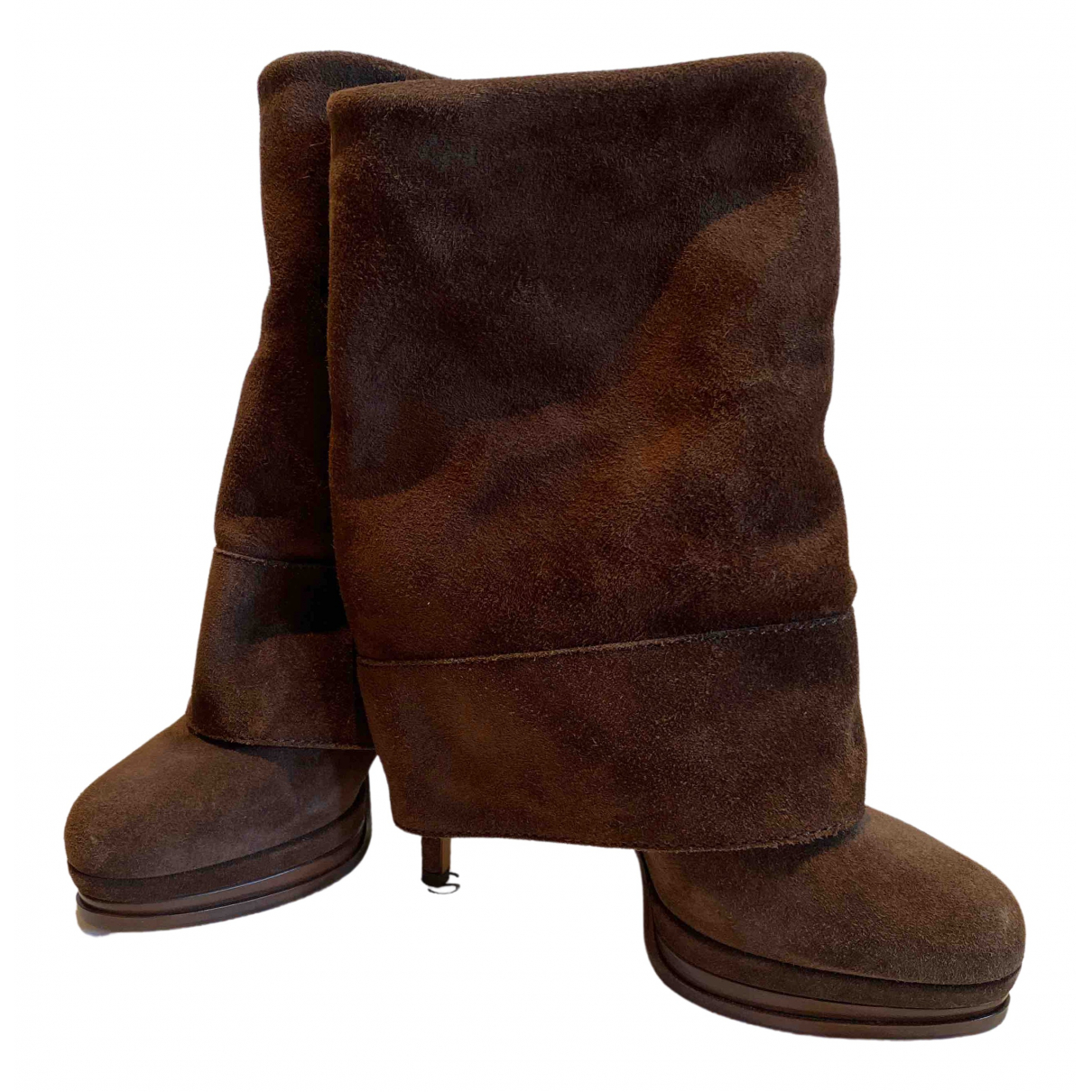 Casadei \N Brown Suede Ankle boots for Women 36 EU