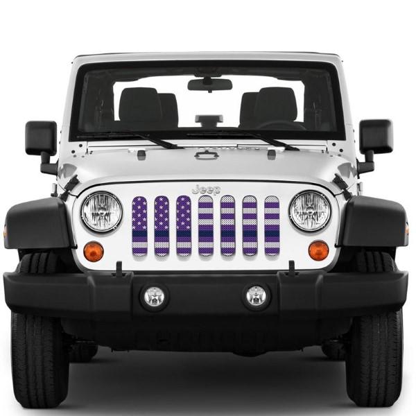 Under The Sun Inserts INSRT-WHTPRPTBL-JK White Purple Thin Blue Line Grill Inserts Jeep Wrangler JK 2008-2018