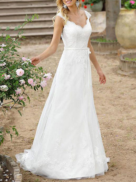 Milanoo Simple Wedding Dress A Line V Neck Sleeveless Sash Floor Length Bridal Gowns With Train