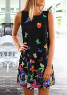 Colorful Butterfly Sleeveless Mini Dress - Black