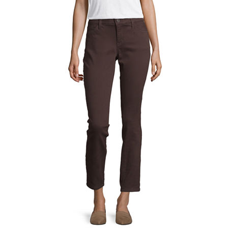 Liz Claiborne Womens Mid Rise Skinny Fit Jean, 20 , Brown
