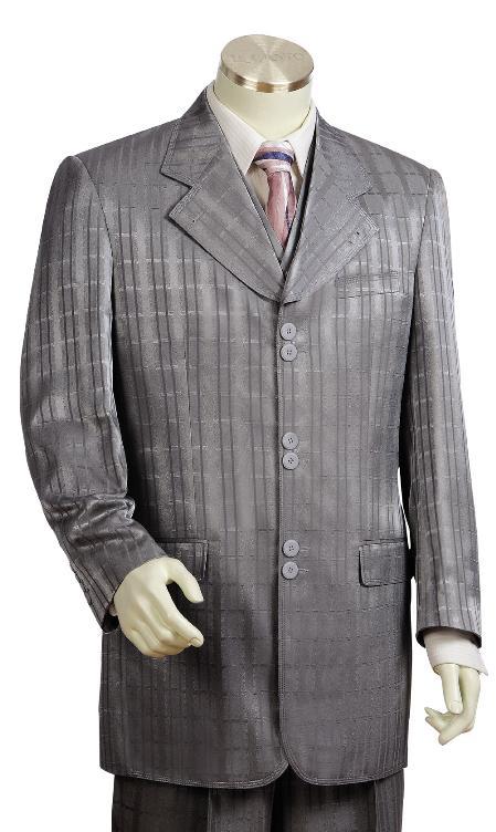 3 Piece 6 Button Grey Fashion Suit Mens