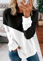 Color Block Long Sleeve Sweatshirt - Black