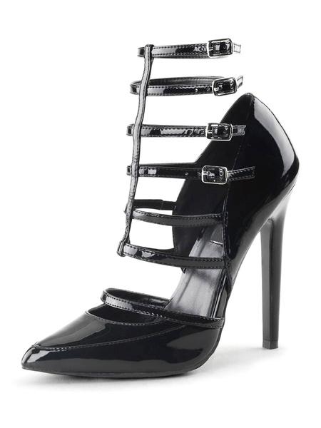Milanoo Women's High Heels Pointed Toe Stiletto Heel Sequins Sexy Vintage Black Shoes