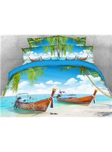 Two Boats At The Seaside on Holiday 3D Printed 4-Piece Polyester Bedding Sets/Duvet Covers