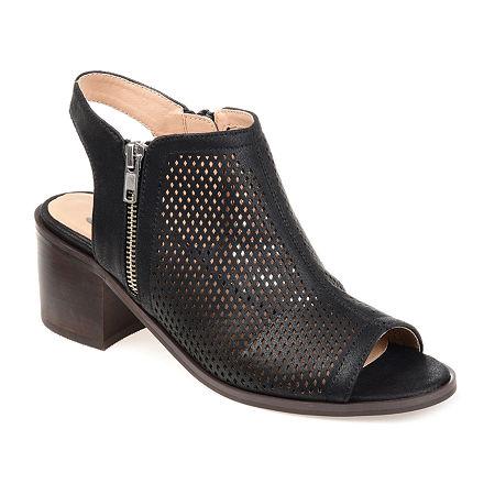 Journee Collection Womens Tibella Booties Block Heel, 5 1/2 Medium, Black