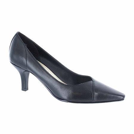 Easy Street Womens Chiffon Pumps Spike Heel, 6 1/2 Wide, Black