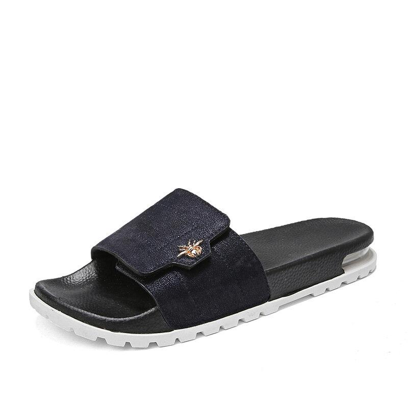 Men PU Non Slip Air-cushionSole Metal Home Casual Slippers