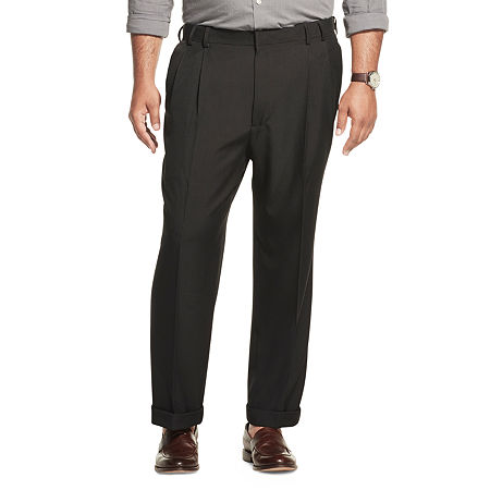 Men's Van Heusen No-Iron Extender Pleated Pants - Big & Tall, 48 30, Black