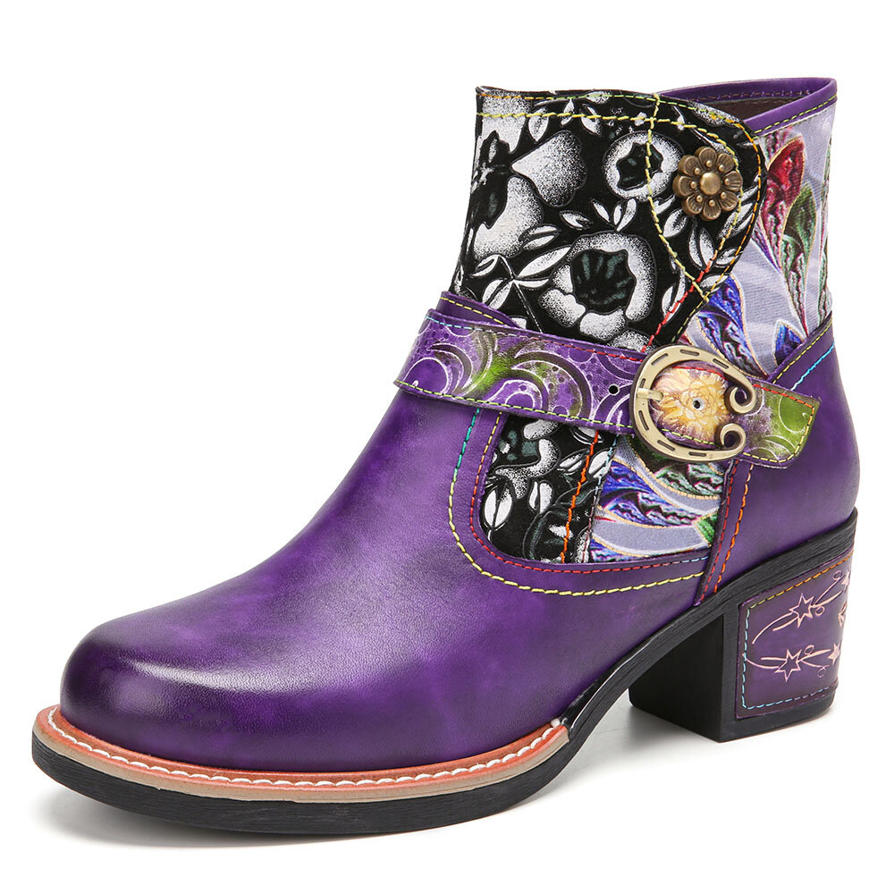 SOCOFY Elegant Floral Cloth Splicing Comfy Genuine Leather Wearable Chunky Heel Ankle Boots