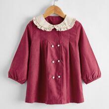 Toddler Girls Peter Pan Collar Bishop Sleeve Pea Coat