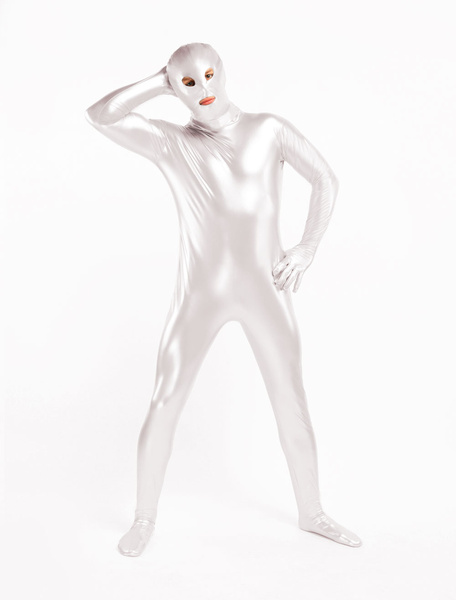 Milanoo Morph Suit Pure Silver Unisex Open Mouth And Eyes Designed PVC BodySuit Clothes Costumes