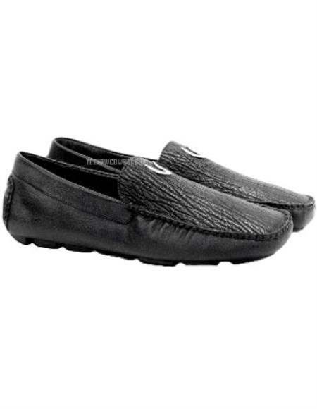 Men's Black Vestigium Genuine Sharkskin Loafers Full Leather Lining