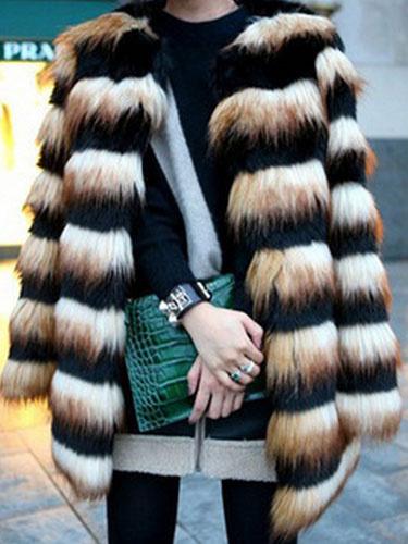 Milanoo Faux Fur Coat Women Stripe Two Tone Long Sleeve Winter Overcoat