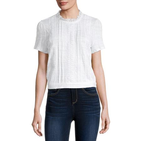 Self Esteem-Juniors Womens Round Neck Short Sleeve Blouse, X-small , White