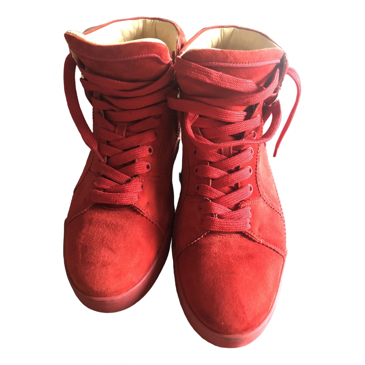 Christian Louboutin \N Red Leather Trainers for Men 43 EU