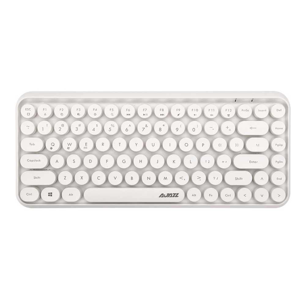 Ajazz 308i Bluetooth 3.0 Wireless Keyboard 84 Classic Round Keys Support Windows/iOS/Android And Other Common Systems - White
