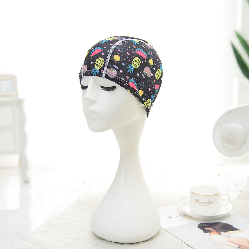 Womens Floral Nylon Beanie Cap Flexible Earmuffs Wrap Long Hair Spa Swimming Cap