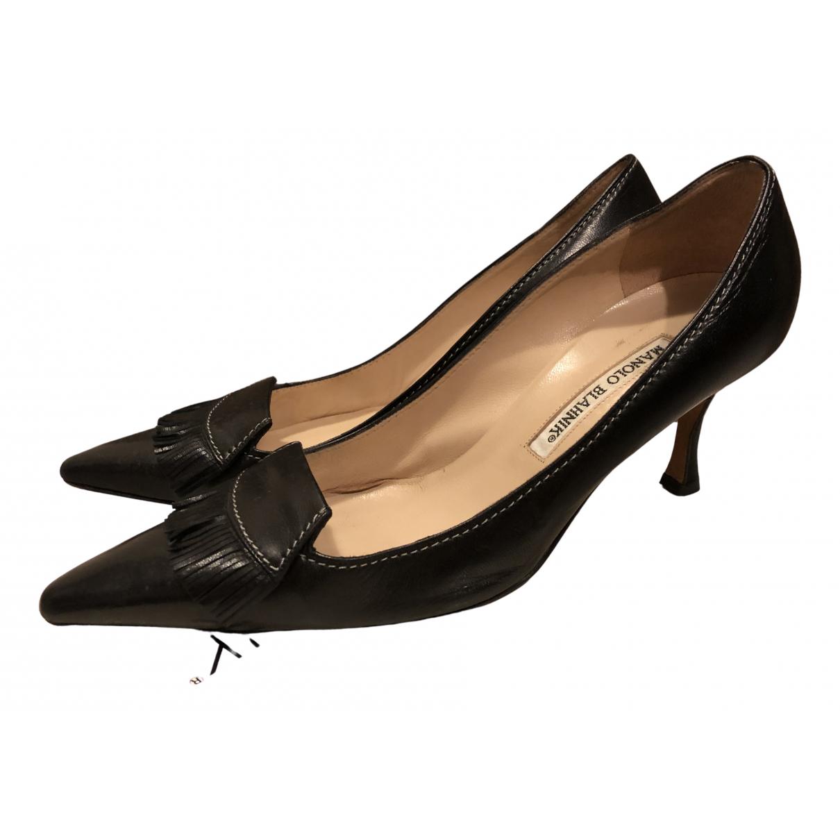 Manolo Blahnik \N Black Leather Heels for Women 38.5 EU